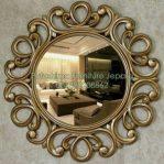 Cermin Bulat Ukir Lengkung Gold