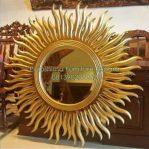 Cermin Bulat Ukir Matahari